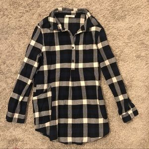 Plaid Tunic Button Down